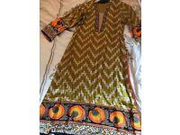 Sana Safinaz printed silk and embroidered shirt. Size 8/small