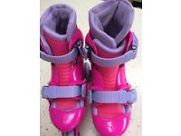 Girls Tri to InLine Roller Skates with elbow, knee & hand protectors - children's size 10 to 13