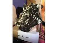 Crushed Velvet Boots, Size 5