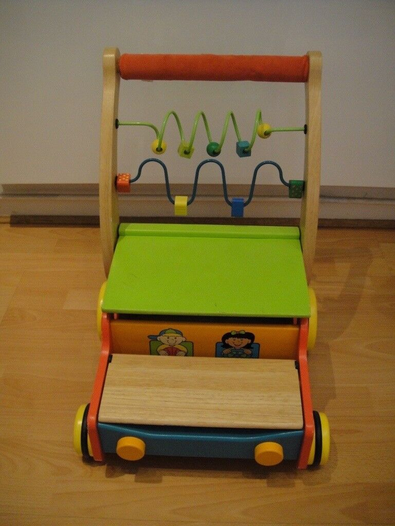 Wooden baby walker with blocks