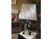Glass mirrored with grey shade table lamp