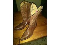 Handcrafted genuine American cowboy boots size twelve UK.