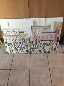 "Lowry print on canvas "" Going To Work""."