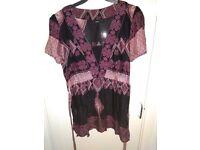 Next purple patterned top size 10