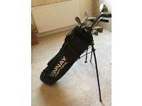 Left handed golf clubs with carry case