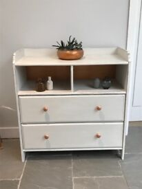 Destressed white and cooper effect chest of draws