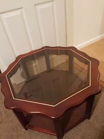 Mahogany effect glass top table