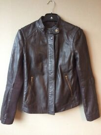 real leather jacket (womens size S brown) Mango