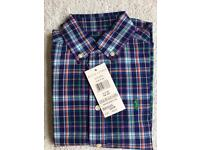 BNWT Ralph Lauren Polo Boys Check Short Sleeve Shirt Size 5 RRP £ 34.99 Year 3 & 4