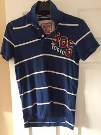 Superdry vintage polo shirt - blue and white