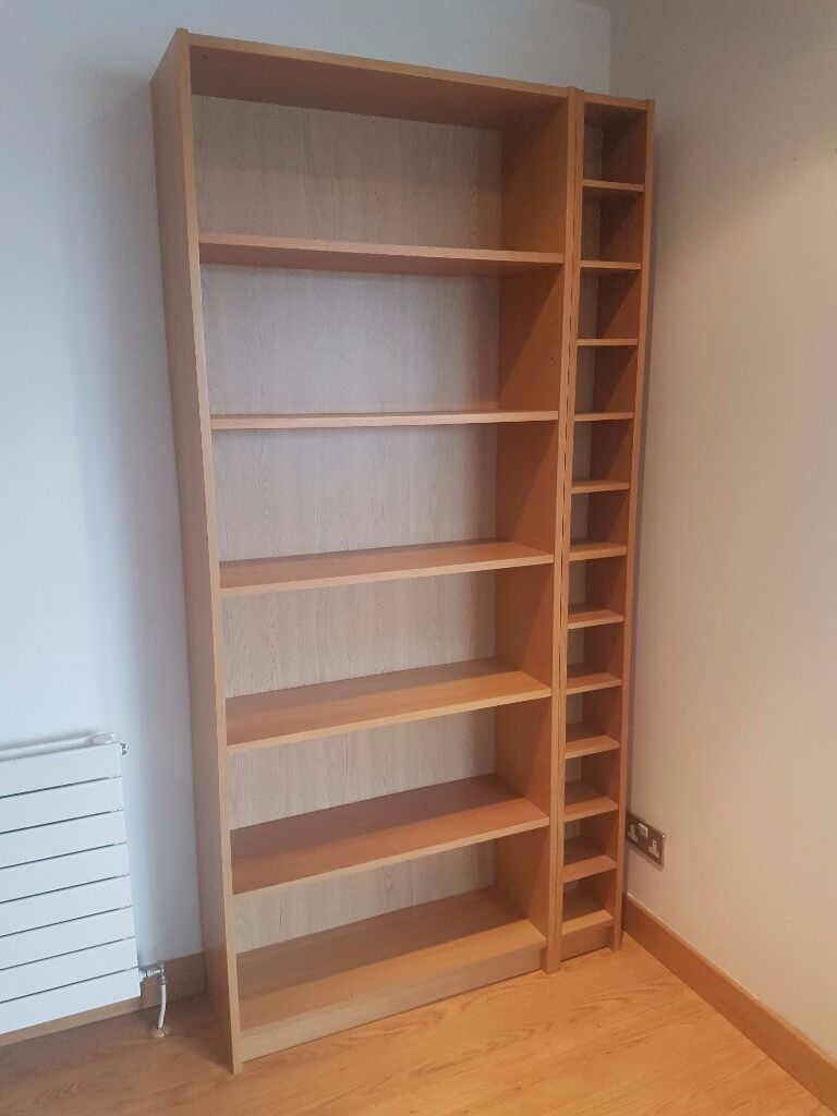 Ikea billy bookcase in oak veneer plus bonus free cd rack - Ikea porta cd billy ...