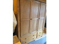 OAK solid large wardrobe with drawers,never used