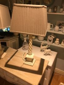2 BEAUTIFUL SHABBY CHIC TABLE LAMPS STONE EFFECT