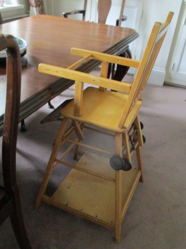 Traditional Wooden High Chair Also Folds Down Into A Table And Chair Varnished Pine In Ardleigh Essex Gumtree