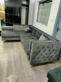 🔵💖AESTHETIC DESIGN🔵🔴Florence sofa-plush velvet left/right hand corner sofa-in grey color