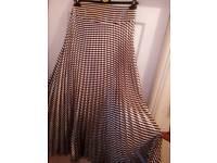 White/Brown Long Satin women Skirts