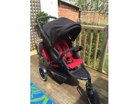 Phil & Teds Explorer Double Buggy in black and red