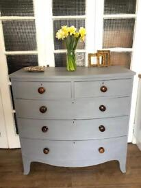 """Large Victorian Chest Free Delivery Ldn bow front """"grey"""""""