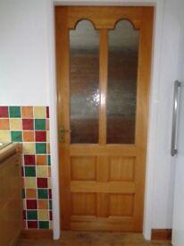 Hardwood internal door with 2 glass panels