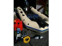 Inflatable boat with outboard motor