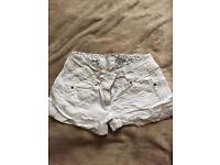 White linen shorts