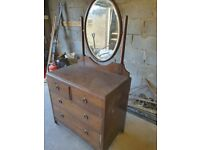 Antique oak dressing table with oval mirror