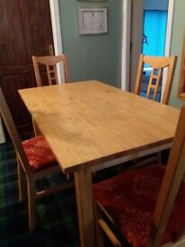 2 wooden dinning room tables and chairs sold together or separably