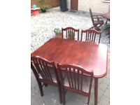 3 piece sofa, pine tv unit, dining table with 4 chairs, patio table with 4 chairs