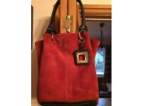 Genuine Tignanello Red Soft Suede Handbag