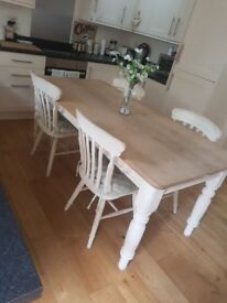 *****SOLD****shabby chic farmhouse 6ft by 3ft table & 4 chairs