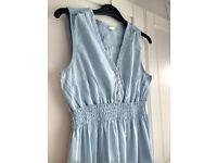 H&M Mama denim-look pale blue cotton maternity dress size 12