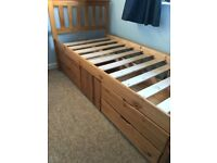 Pine Single Captains Bed with storage