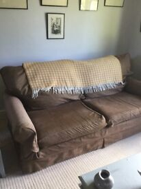 Collins & Hayes 4 seater large brown sofa removable covers vgc