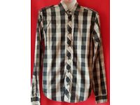 Stunning Zara Man Black & Grey Checked Shirt Size S Brand New without Tags