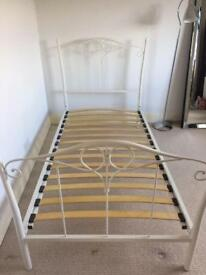 White metal next bed frame