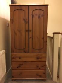 Child's wooden wardrobe and 3 draws £25