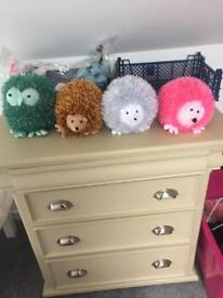 Hand knitted hedgehogs and owls made to order