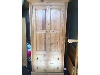 Devon Pine single wardrobe, with drawer
