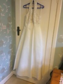 White wedding dress with pearls