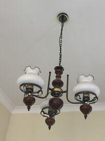 Chandelier, hanging ceiling light, wood+metal, 90s, vintage style,