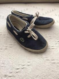 Boys Lacoste navy trainers. Size uk 9