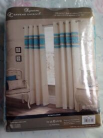 "New Signature GAVENO CAVAILIA 90x90"" (229x229 cm's) Embroidered Eyelet Fully Lined Cream Curtains"