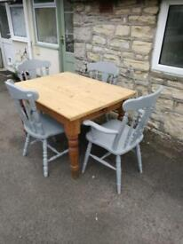Old table and painted chairs (delivery available)