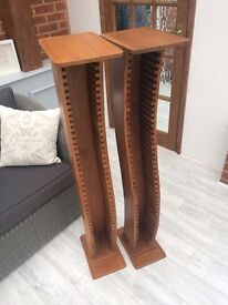 Two beautifully crafted solid wooden CD stands