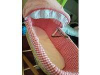 Moses basket, stand and fitted sheets
