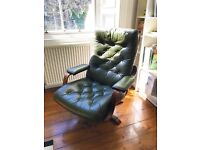 Retro, Vintage - Green Leather Chesterfield reclining // swivel Arm chair