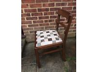Lovely Wooden Dining/Living Room Chair painted in Antique White, Grey & Cream and reupholstered