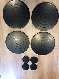 set of 4 modern black round ceramic table mats & matching coasters