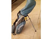 Full left handed golf set including free standing bag , golf trolley and drivers