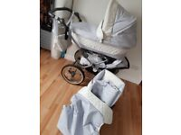 Babystyle prestige 3in1 white and baby blue leather pram